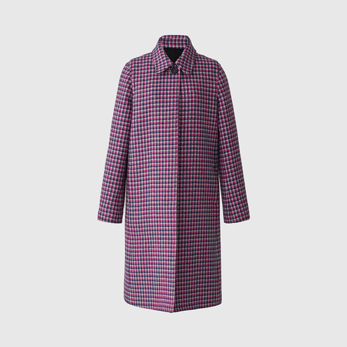 PINK HOUNDTOOTH CHECK COAT by harris tweed