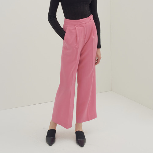 Wool belted wide trouser