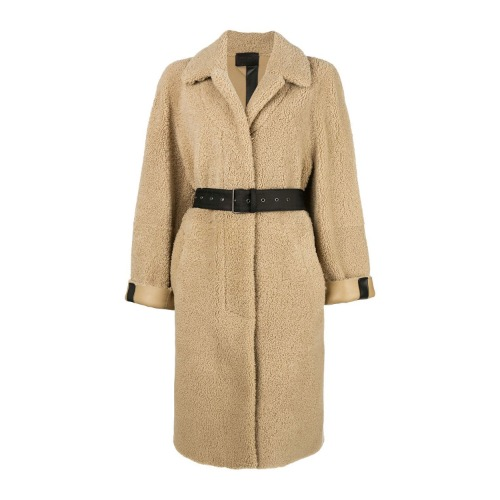 Oversized belted shearling coat
