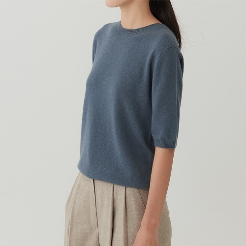 Italy cashmere short sleeve knit