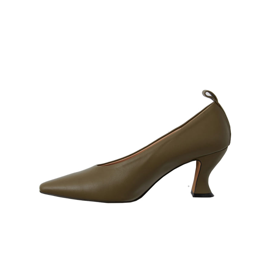High-cut spool-heel leather pumps